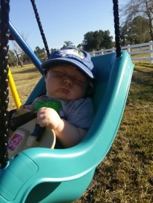 Here's my first admission: I push the baby in the swing so often because I'm hoping he'll fall asleep.